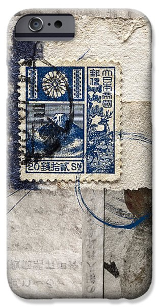 Monochrome Mixed Media iPhone Cases - Japanese Postage 20 Sen iPhone Case by Carol Leigh