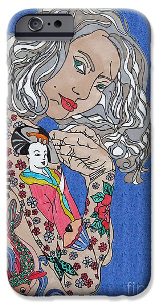Lips iPhone Cases - Japanese Tat Girl Bright Blue iPhone Case by Karen Larter