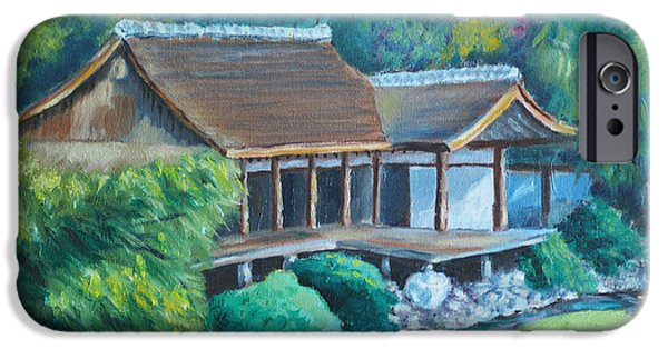Phillies Paintings iPhone Cases - Japanese Tea House iPhone Case by Joseph Levine