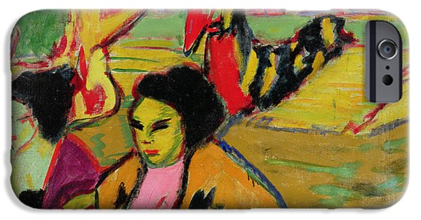 Acting iPhone Cases - Japanese Theatre, 1909 Oil On Canvas iPhone Case by Ernst Ludwig Kirchner
