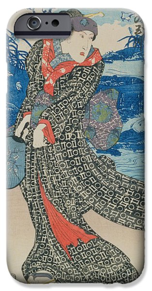 Calligraphy Print iPhone Cases - Japanese woman by the sea iPhone Case by Utagawa Kunisada