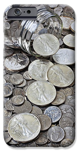 Finance iPhone Cases - Jar spilling silver coins iPhone Case by Garry Gay