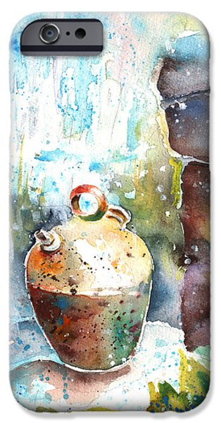 Water Jars Paintings iPhone Cases - Jar under A Waterfall iPhone Case by Miki De Goodaboom