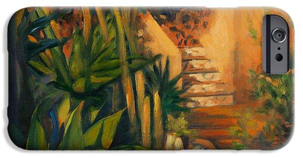 Spanish House iPhone Cases - Jardin de Cactus iPhone Case by Athena Mantle