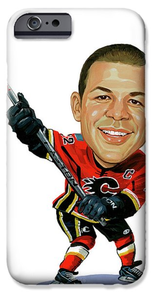 Hockey Paintings iPhone Cases - Jarome Iginla iPhone Case by Art