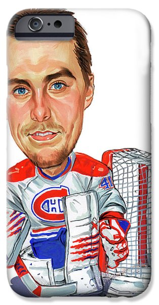 Hockey Paintings iPhone Cases - Jaroslav Halak iPhone Case by Art