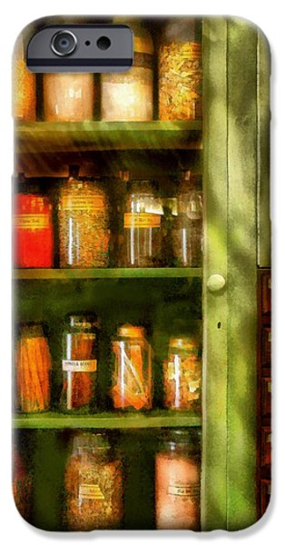 Suburban Digital Art iPhone Cases - Jars - Ingredients II iPhone Case by Mike Savad