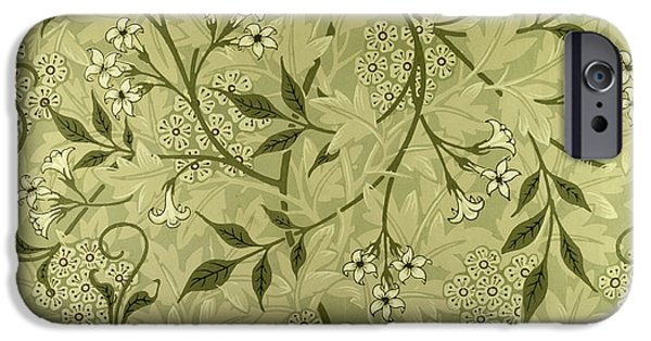 Wallpaper Tapestries - Textiles iPhone Cases - Jasmine wallpaper design iPhone Case by William Morris