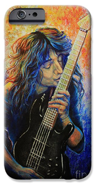 Pallet Knife Paintings iPhone Cases - Jason Becker iPhone Case by Tylir Wisdom