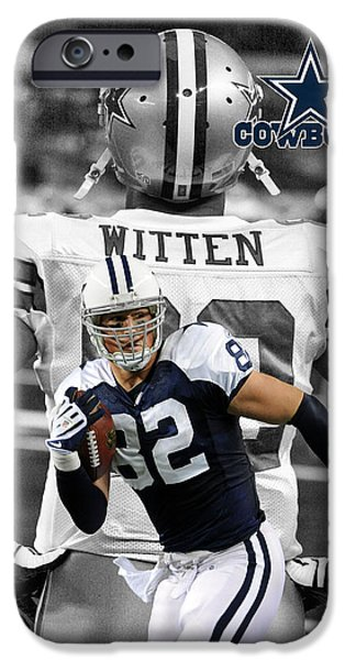 Cowboy iPhone Cases - Jason Witten Cowboys iPhone Case by Joe Hamilton