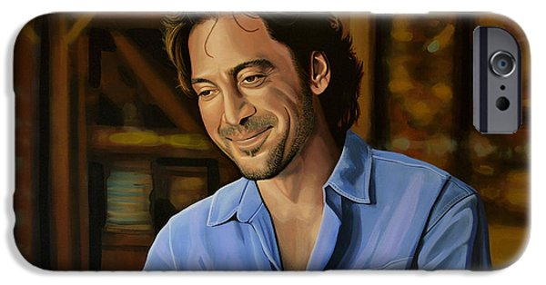 Planets Paintings iPhone Cases - Javier Bardem iPhone Case by Paul Meijering