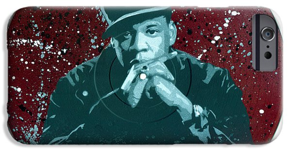Jay Z Paintings iPhone Cases - Jay-Z Stencil Art on an upcycled vinyl record iPhone Case by Tim Kravel