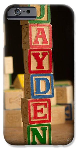 Spell iPhone Cases - JAYDEN - Alphabet Blocks iPhone Case by Edward Fielding