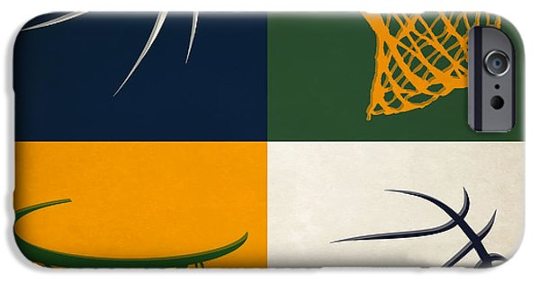 Utah Jazz iPhone Cases - Jazz Ball And Hoops iPhone Case by Joe Hamilton