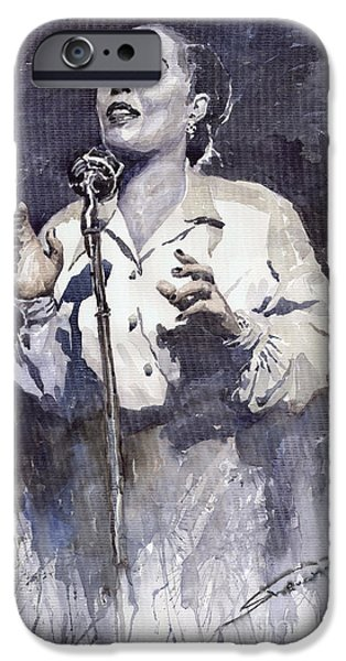 Song Paintings iPhone Cases - Jazz Billie Holiday Lady Sings The Blues iPhone Case by Yuriy  Shevchuk