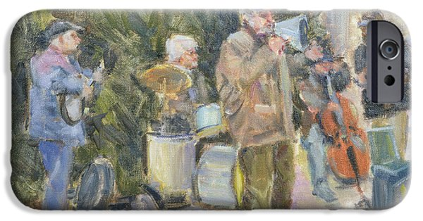 Celebrities Photographs iPhone Cases - Jazz Buskers, Prague Oil On Canvas iPhone Case by Miranda Legard