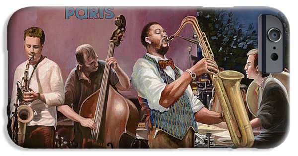 Moon iPhone Cases - jazz festival in Paris iPhone Case by Guido Borelli