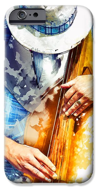 Bassist iPhone Cases - Jazzman at his craft iPhone Case by Carter Jones