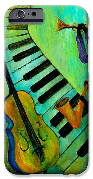 Keyboard Paintings iPhone Cases - Jazz in a Cool Mood iPhone Case by Larry Martin