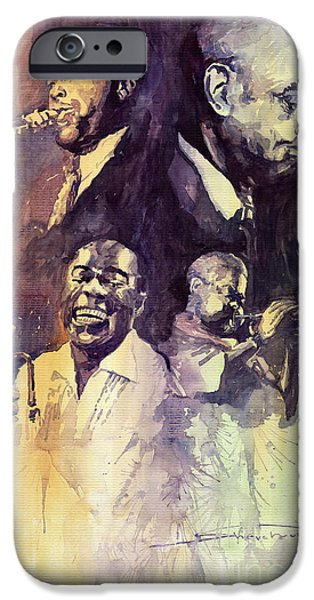 Legend iPhone Cases - Jazz Legends Parker Gillespie Armstrong  iPhone Case by Yuriy  Shevchuk