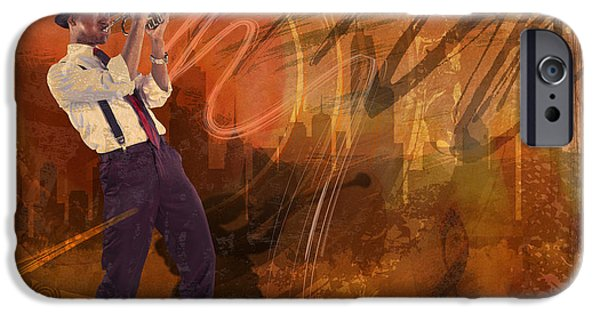 Abstract Digital Mixed Media iPhone Cases - Jazz NRG iPhone Case by Bedros Awak