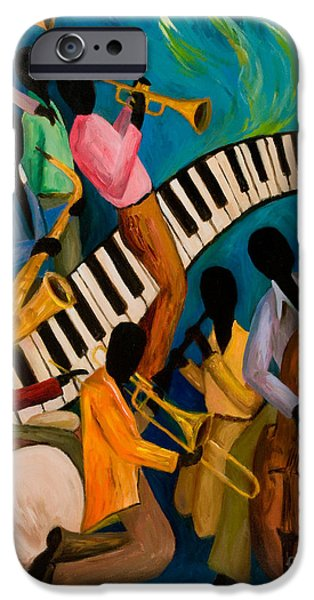 Keyboard iPhone Cases - Jazz on Fire iPhone Case by Larry Martin