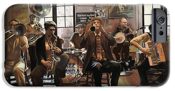 Jazz iPhone Cases - Jazz Orchestra iPhone Case by Guido Borelli