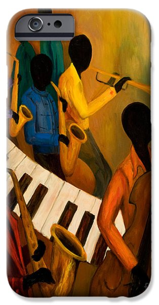 Keyboard Paintings iPhone Cases - Jazz Quintet and Friends iPhone Case by Larry Martin