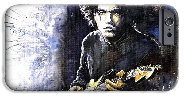 Jazz Paintings iPhone Cases - Jazz Rock John Mayer 03  iPhone Case by Yuriy  Shevchuk