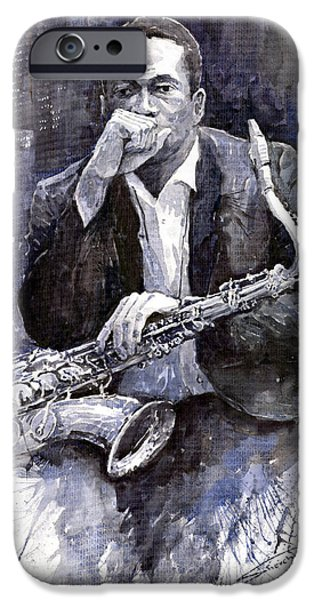 Portret iPhone Cases - Jazz Saxophonist John Coltrane black iPhone Case by Yuriy  Shevchuk