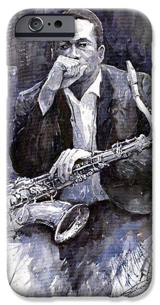 Jazz Paintings iPhone Cases - Jazz Saxophonist John Coltrane black iPhone Case by Yuriy  Shevchuk