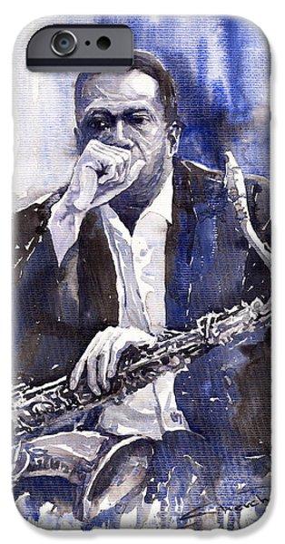 Jazz Paintings iPhone Cases - Jazz Saxophonist John Coltrane blue iPhone Case by Yuriy  Shevchuk