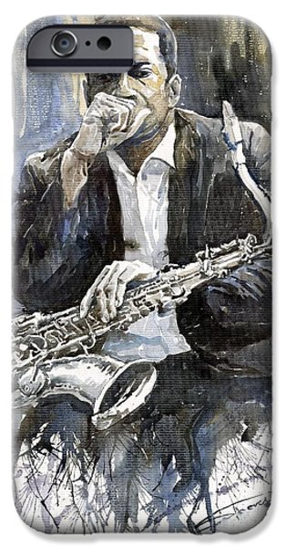 Jazz Paintings iPhone Cases - Jazz Saxophonist John Coltrane yellow iPhone Case by Yuriy  Shevchuk