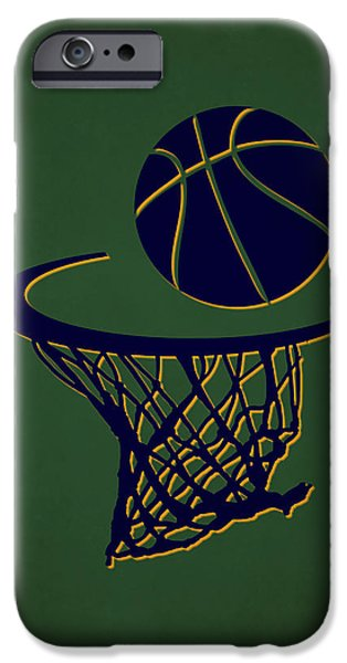 Dunk iPhone Cases - Jazz Team Hoop2 iPhone Case by Joe Hamilton