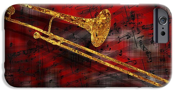 Sheets iPhone Cases - Jazz Trombone iPhone Case by Jack Zulli