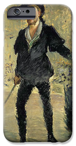 Weapon Paintings iPhone Cases - Jean Baptiste Faure in the Opera Hamlet by Ambroise Thomas iPhone Case by Edouard Manet