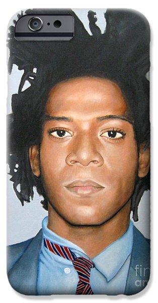 Painter Photo Mixed Media iPhone Cases - Jean-Michel Basquiat iPhone Case by Venus