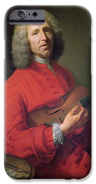 Sheets iPhone Cases - Jean-philippe Rameau 1683-1764 With A Violin Oil On Canvas iPhone Case by Jacques Andre Joseph Camelot Aved