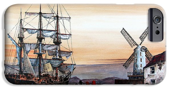 Famine iPhone Cases - Jeanie Johnston Famine Ship iPhone Case by Val Byrne
