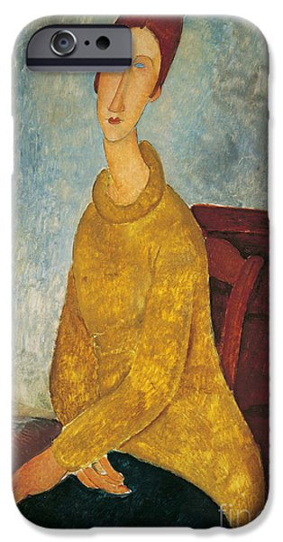 Featured Paintings iPhone Cases - Jeanne Hebuterne in Yellow Sweater iPhone Case by Amedeo Modigliani