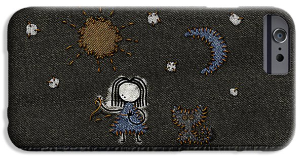 Abstract Digital Digital Art iPhone Cases - Jeans Stitches iPhone Case by Gianfranco Weiss