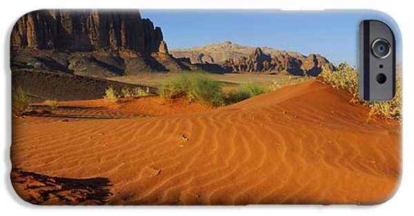 Jordan iPhone Cases - Jebel Qatar From The Valley Floor, Wadi iPhone Case by Panoramic Images
