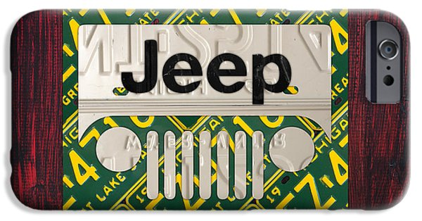Jeep iPhone Cases - Jeep Vintage Logo Recycled License Plate Art iPhone Case by Design Turnpike