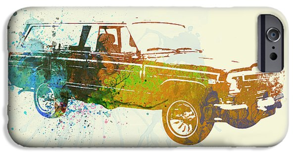Vintage Cars iPhone Cases - Jeep Wagoneer iPhone Case by Naxart Studio