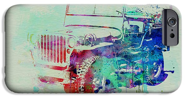 Vintage Cars iPhone Cases - Jeep Willis iPhone Case by Naxart Studio