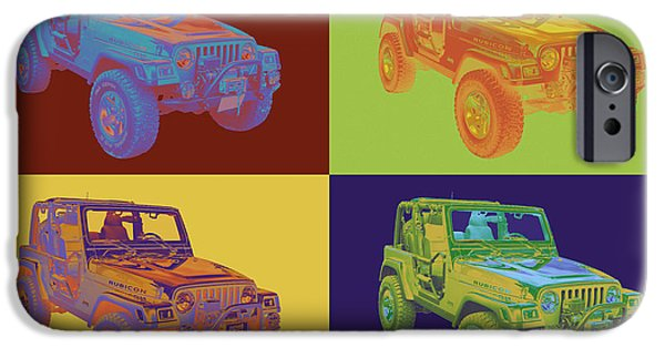 Jeep iPhone Cases - Jeep Wrangler Rubicon Pop Art iPhone Case by Keith Webber Jr