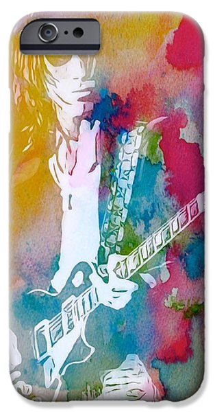 Sound Mixed Media iPhone Cases - Jeff Beck Watercolor iPhone Case by Dan Sproul