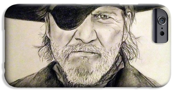 True Grit Drawings iPhone Cases - Jeff Bridges as U.S. Marshal Rooster Cogburn iPhone Case by Jim Fitzpatrick