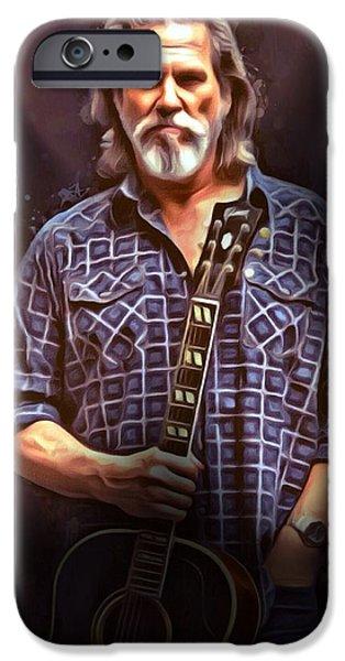 Digital Designs iPhone Cases - Jeff Bridges Portrait iPhone Case by Scott Wallace