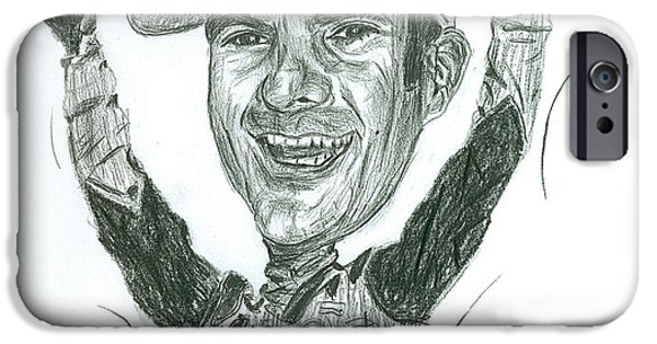 Etc. Drawings iPhone Cases - Jeff Gordon Caricature iPhone Case by Michael Morgan